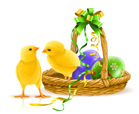 two little yellow chicken with easter eggs in the basket - vector illustration Vector