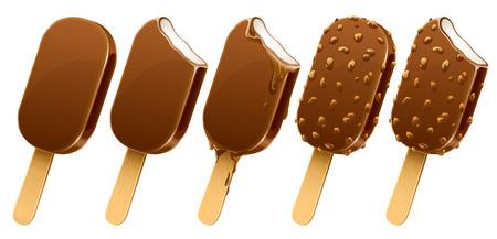 wooden stick: set of chocolate ice-cream dessert on wooden stick - vector illustration