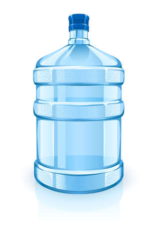 plastics: big bottle with clean blue water drink - vector illustration