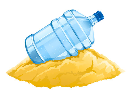 big bottle with clean blue water drink on the sand - vector illustration