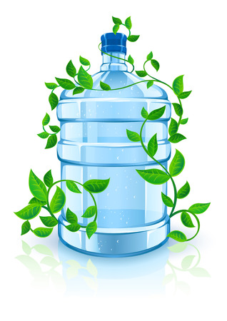 big bottle with clean blue water drink and green foliage - ecological vector illustration Vector