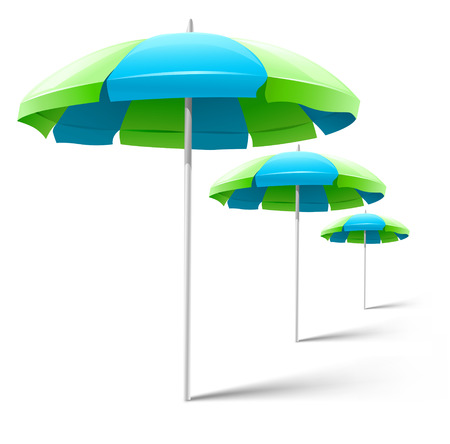 beach umbrellas isolated on white - vector illustration Vector