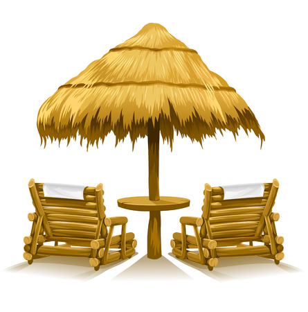 beach umbrella: two beach deck-chairs under wooden umbrella - vector illustration