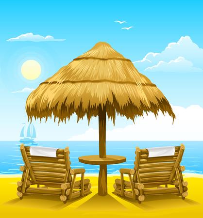 d�tente: plage de deux chaises longues en bois sous parapluie - illustration vectorielle