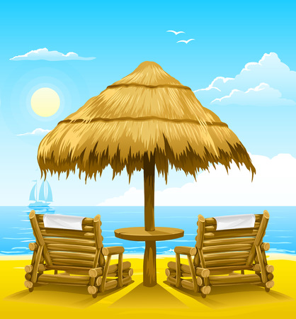 yellow roof: two beach deck-chairs under wooden umbrella - vector illustration
