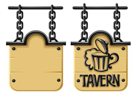 taverns: Antiguo en blanco de madera decorativos de forja con el signo y la cadena - ilustraci�n vectorial