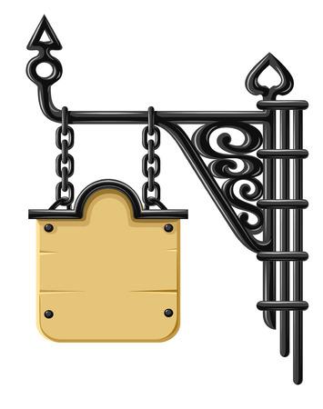 taberna: Antiguo en blanco de madera decorativos de forja con el signo y la cadena - ilustraci�n vectorial