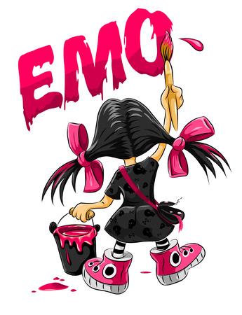 emo: emo jongen meisje tekening op de muur - vector illustration