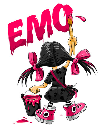 emo kid girl drawing on the wall - vector illustration Vector