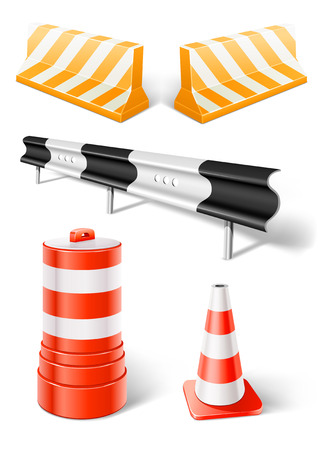 traffic barricade: working objects for road repair or construction - vector illustration Illustration