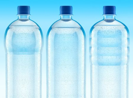 misted: misted plastic bottles with fresh clear water - 3d illustration Stock Photo
