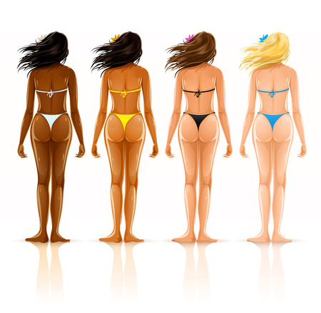 naked woman back: group of beautiful girls in bikini with different color of skin - vector iilustration