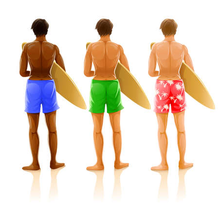 group of young men with boards for surfing - vector illustration Illustration