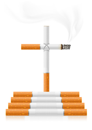 smoking a cigarette: stop smoking concept - danger of cigarettes - vector illustration