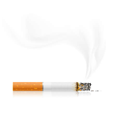 cigarette: smouldering cigarette with a smoke - vector illustration Illustration