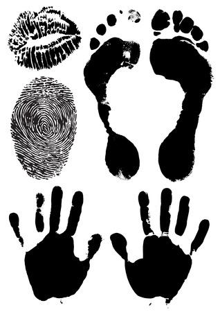 foot print: l'encre noire de timbres des mains de l'homme, pieds, des l�vres et des doigts - illustration vectorielle