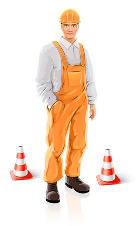 salopette: Road Builder homme de caract�re isol� - illustration vectorielle