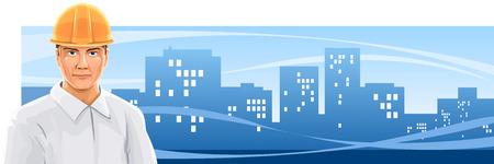 ingegneri: banner con un uomo costruttore su sfondo della citt� - illustrazione vettoriale