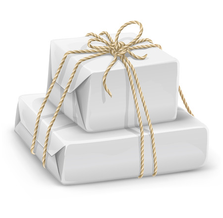 rope vector: white paper boxes wired by rope - vector illustration Illustration