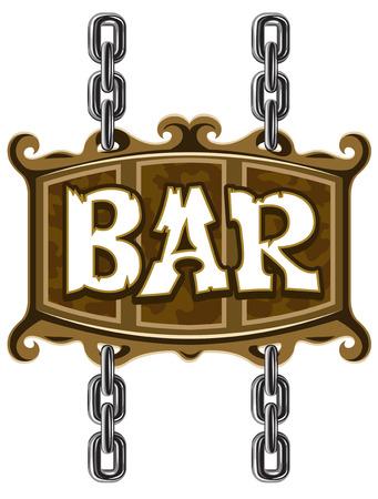 wooden sign for beer pub or bar - vector illustration Vector