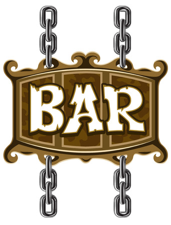 wooden sign for beer pub or bar - vector illustration Vector