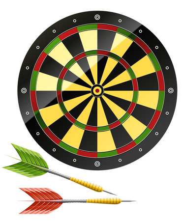 Darts with dart board game - vector illustration Vector
