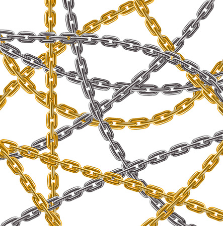 in ketten: Hintergrund der Gold-und Silber-Kette Web - Vektor-Illustration Illustration