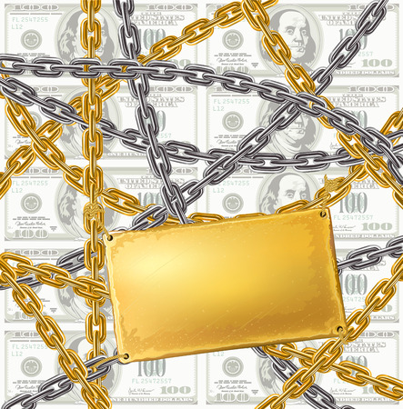 gold and silver chain protecting money - vector illustration Vector
