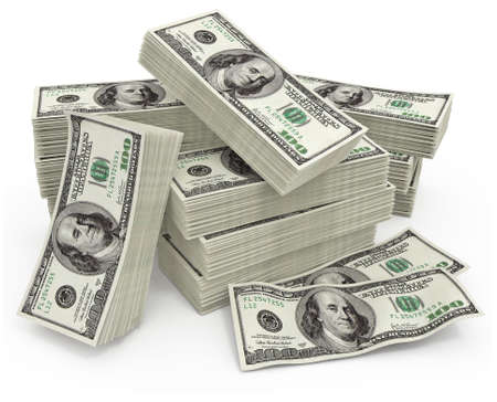 big sum of money dollars - 3d illustration Stock Illustration - 5286806