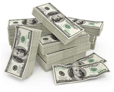 sum: big sum of money dollars - 3d illustration Stock Photo