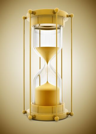 outflow: old gold sand clock measuring time - 3d illustration Stock Photo