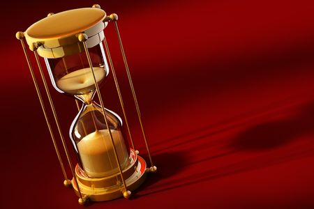 outflow: old gold sand clock measuring time on the red background - 3d illustration