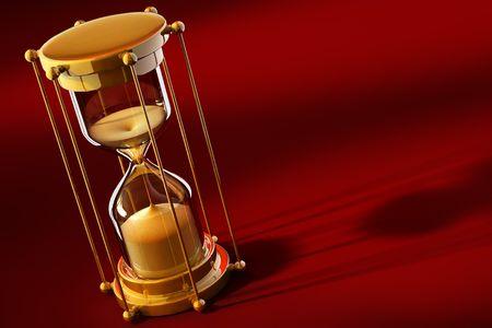 sand timer: old gold sand clock measuring time on the red background - 3d illustration
