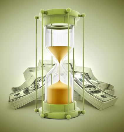 outflow: time is money concept with sand clock and dollars - 3d illustration Stock Photo