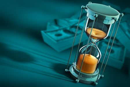 tempo: time is money concept with sand clock and dollars - 3d illustration Imagens