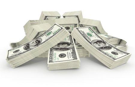 greenbacks: big sum of money dollars - 3d illustration Stock Photo
