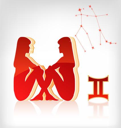 virgo: Gemini icono de la astrolog�a para el hor�scopo del zodiaco - ilustraci�n vectorial