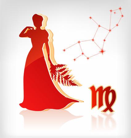 jungfrau: virgo zodiac Astrologie Symbol f�r horoscope - vector illustration