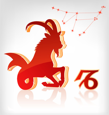 capricorn zodiac astrology icon for horoscope - vector illustration Illustration