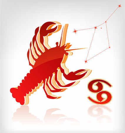 crawfish: crawfish zodiac astrology icon for horoscope - vector illustration Illustration