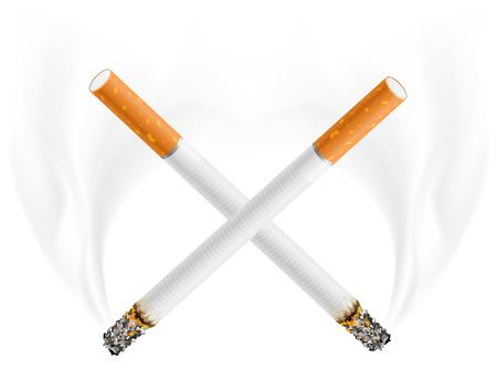 smouldering cigarette: ctross of cigarettes - danger of smoking concept - vector illustration Illustration