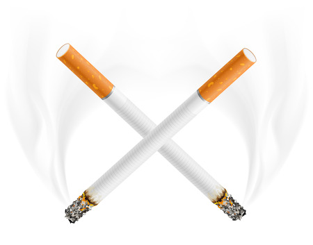 ctross of cigarettes - danger of smoking concept - vector illustration Stock Vector - 5385650