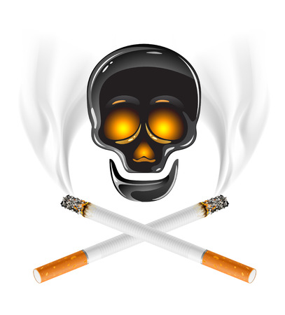 ctross of cigarettes with skull - danger of smoking concept Vector