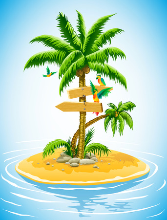 tropical palm tree on the uninhabited island in the ocean - vector illustration Illustration