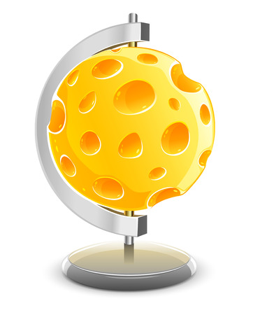 porous: globe planet made of yellow porous cheese food with holes - vector illustration