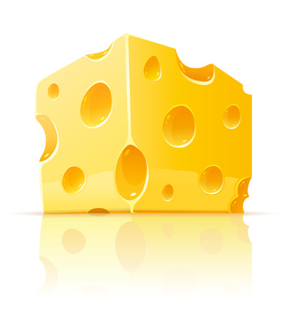 piece: piece of yellow porous cheese food with holes - vector illustration