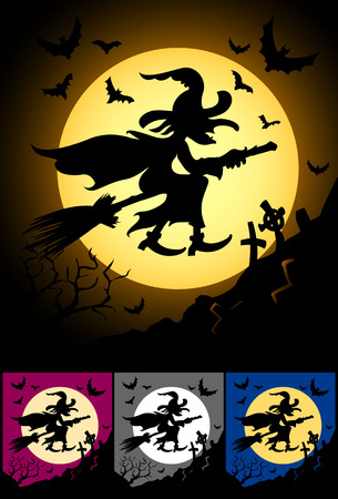 flaying: witch flaying on broom at halloween night - vector illustration