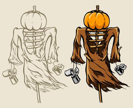 frightful: frightful halloween scare-crow with head made of orange pumpkin - vector illustration Illustration