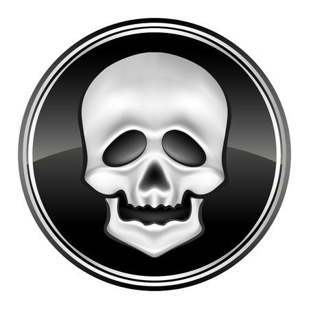 human skul icon on the black circle - vector illustration Vector