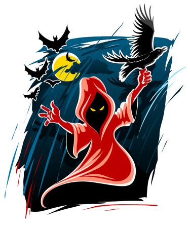 frightening: frightful halloween midnight ghost - vector illustration